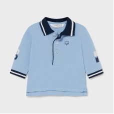 Mayoral Baby Boys Long Sleeve Polo - Pale Blue