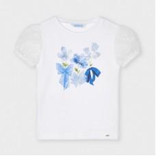 Mayoral Kids Girls Short Sleeve Flower T-Shirt - White