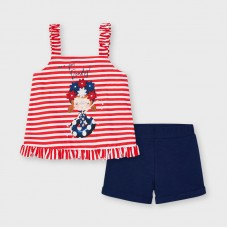 Mayoral Kids Girls Stripe Vest Set - Red/Navy
