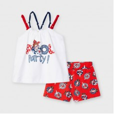 Mayoral Kids Girls Vest Set - White/Red