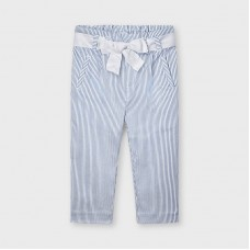 Mayoral Kids Girls Stripe Trouser - Blue