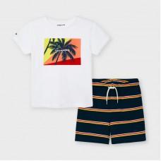 Mayoral Kids Boys T-Shirt Set - White/Orange