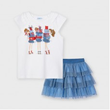 Mayoral Kids Girls Tulle Skirt Set - Blue