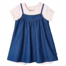 Levi's Infant Dress with Babygrow - Pink and Denim