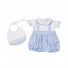 Fun & Fun Infant Boys Romper with Bib - Sky & White