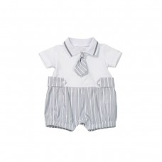 Fun & Fun Infant Boys Romper - Grey & White