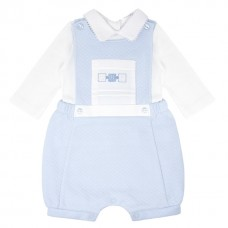 Pastels & Co Boys 2 Piece Bib Short Set - Pale Blue