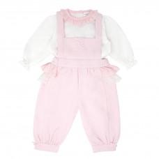 Pastels & Co Girls 2 Piece Dungarees Set - Pink