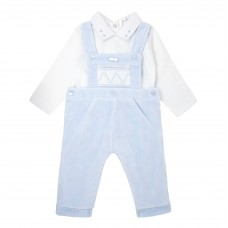 Pastels & Co Boys 2 Piece Short Dungarees - Pale Blue