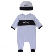 Hugo Boss Infant Boys Pyjama & Hat Set - Pale Blue