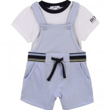 Hugo Boss Infant Boys Dungaree Set - Pale Blue