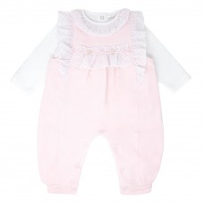 Pastels & Co Girls 2 Piece Dungarees Set - Pink