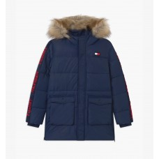 Tommy Hilfiger Boys Tape Parka Faux Fur Hood - Navy