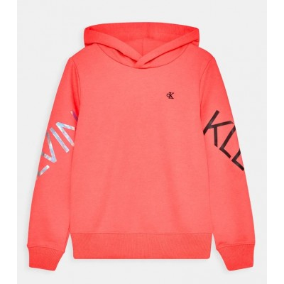 Calvin Klein Girls Hooded Jumper - Coral