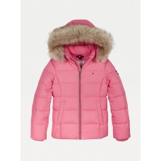 Tommy Hilfiger Girls Quilted Faux Fur Trim Hood - Pink