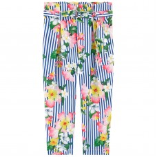 ~Mayoral Kids Girls Floral Trousers - Blue & White