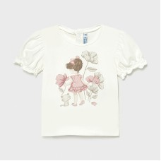 Mayoral Infant Girls Frill Sleeve T-Shirt - White