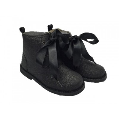 ~Andanines Girls Glitter Ankle Boot - Black