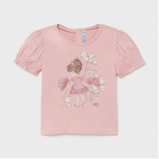 Mayoral Infant Girls Frill Sleeve T-Shirt - Pink