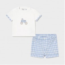 Mayoral Baby Boys Chequered Short Set - Pale Blue