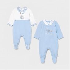 Mayoral Baby Boys 2 Pack Pyjama Set - Pale Blue
