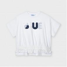 Mayoral Kids Girls Appliqué Short Sleeve T-Shirt - White