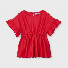 Mayoral Kids Girls Ruffle Sleeve Blouse  - Red