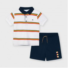 Mayoral Kids Boys Stripe Polo Set - White/Navy
