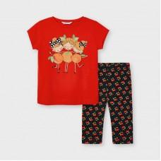 Mayoral Kids Girls Print Leggings Set - Red