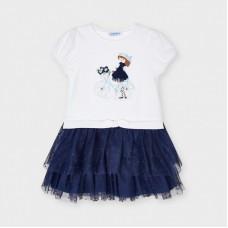 Mayoral Kids Girls Tulle Dress - Navy