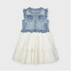 Mayoral Kids Girls Denim Dress - Cream