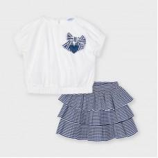 Mayoral Kids Girls Skirt Set - Navy