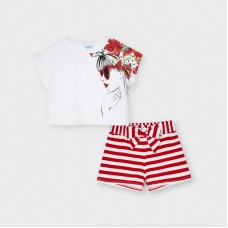Mayoral Junior Girls Stripe Short Set - Red