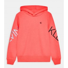 ~Calvin Klein Girls Hooded Jumper - Coral