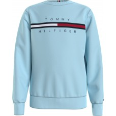 Tommy Hilfiger Boys Crew Neck Jumper - Pale Blue